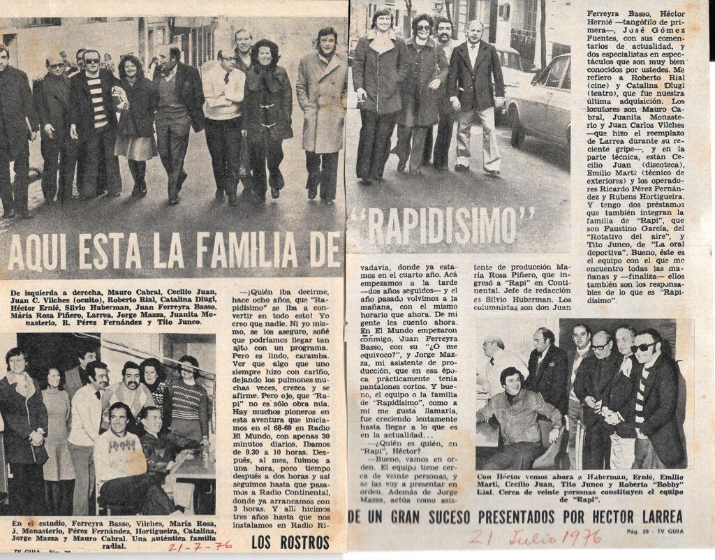 Rapidísimo - nota TV Guía - 21-07-1976
