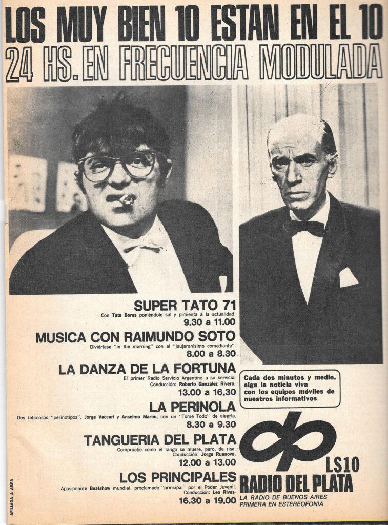 LS 10 Radio del Plata FM - muestra de programación 23-05-1971