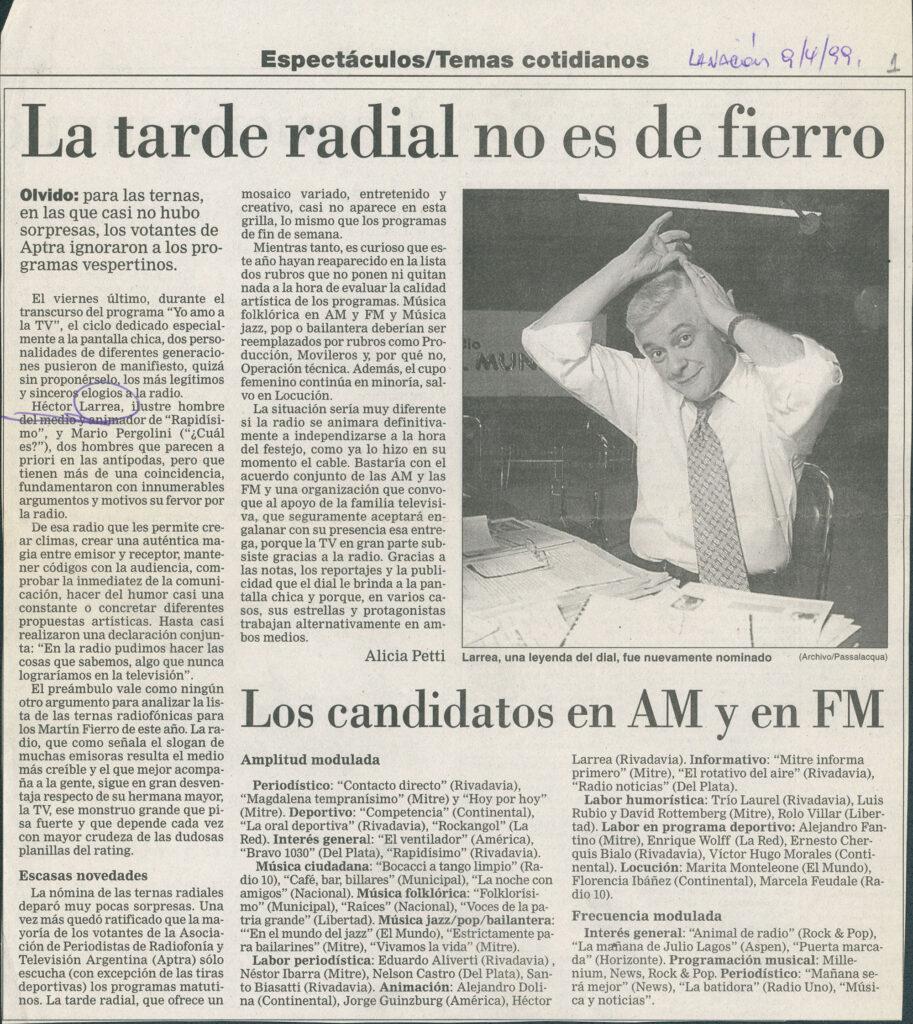 Héctor Larrea. Nota Diario La Nación Espectáculos. 1999