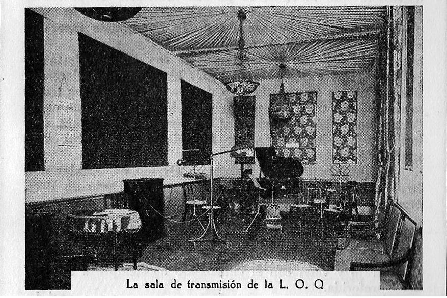 Sala de transmisiones de L.O.Q en la antigua calle Cangallo (hoy Perón) 860